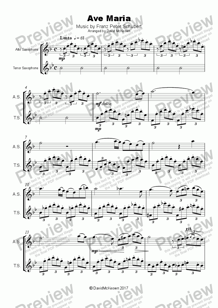 page one of Ave Maria by Franz Schubert, Duet for Alto and Tenor Saxophone
