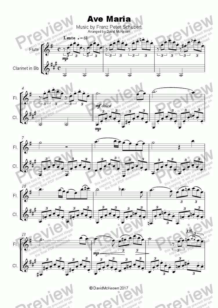 page one of Ave Maria by Franz Schubert, Duet for Flute and Clarinet