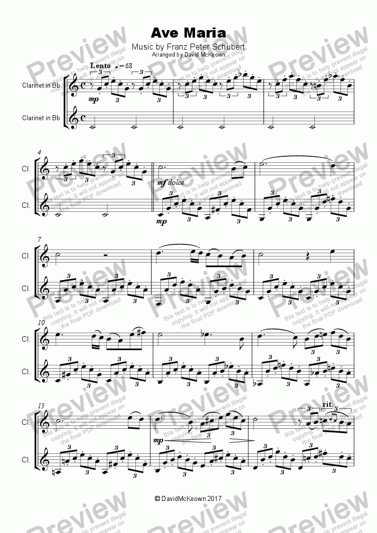 Ave Maria by Franz Schubert, Duet for two Clarinets - Sheet Music PDF
