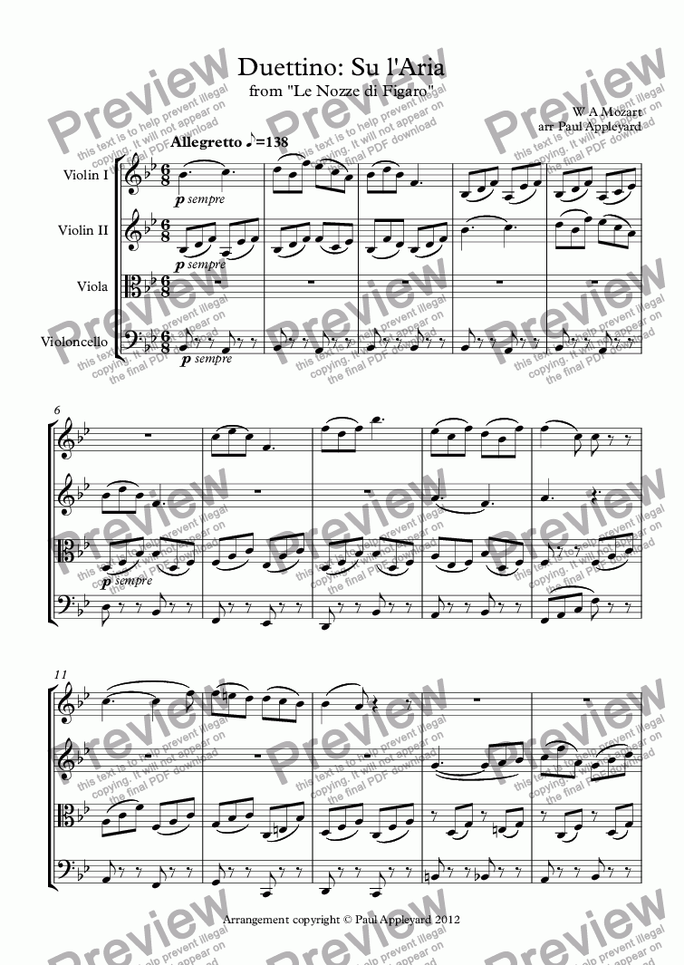 page one of Duettino: Su l'Aria (Marriage of Figaro)