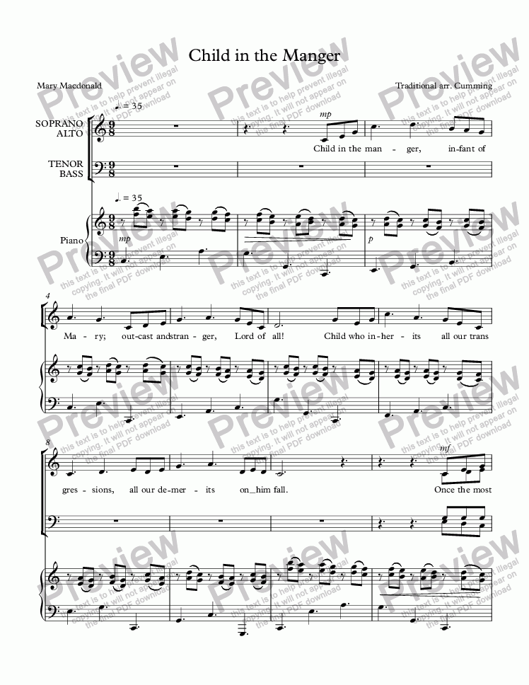 "page one of ""Child in the Manger"" for SATB choir & piano"