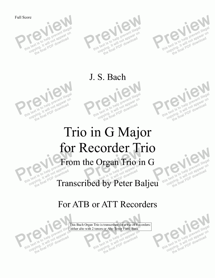 page one of Bach Trio in G Major for ATB or ATT Recorders