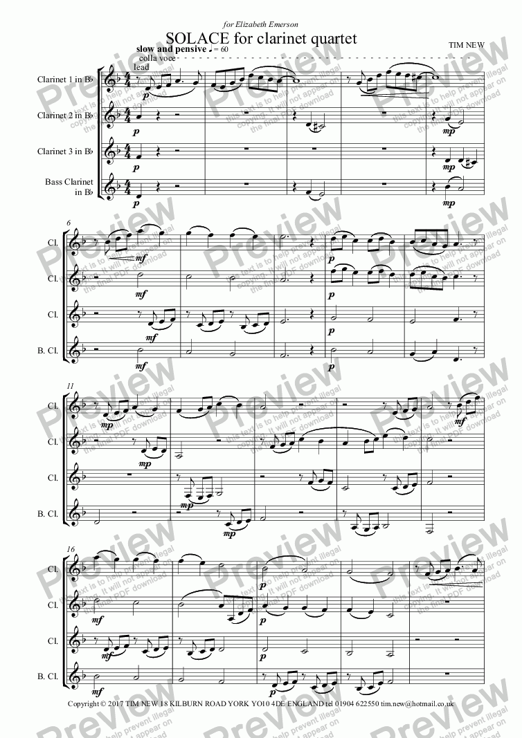 page one of SOLACE for clarinet quartet