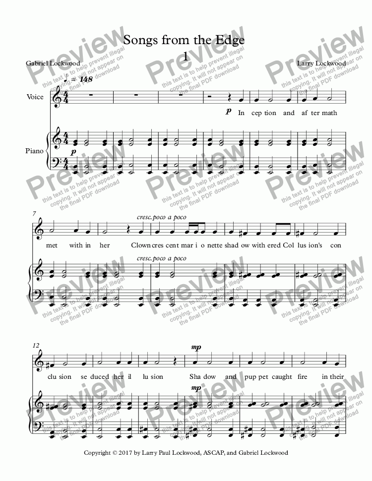 page one of Songs from the Edge 5 songs for voice & keyboard