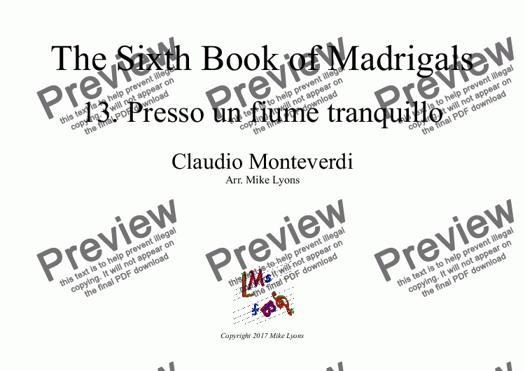 page one of Brass Quintet - Monteverdi Madrigals Book 6 - 13. Presso un fiume tranquilloASALTTEXT