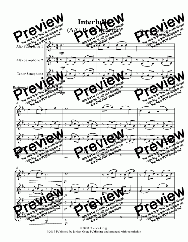 page one of Interlude (AATB sax quartet)