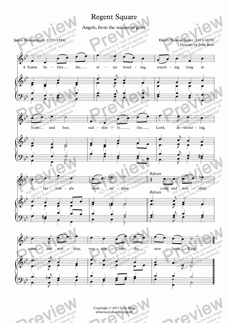 page one of Regent Square (Angels, from the realms of glory) - Descant