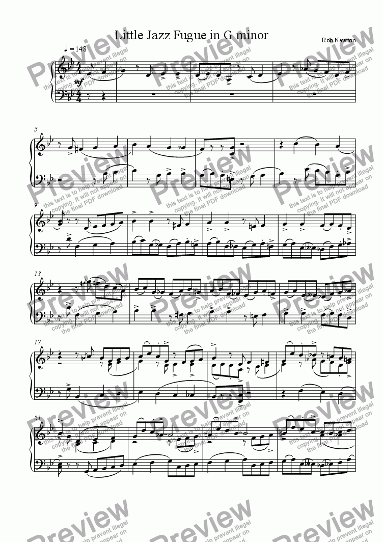 page one of Little Jazz Fugue in G minor