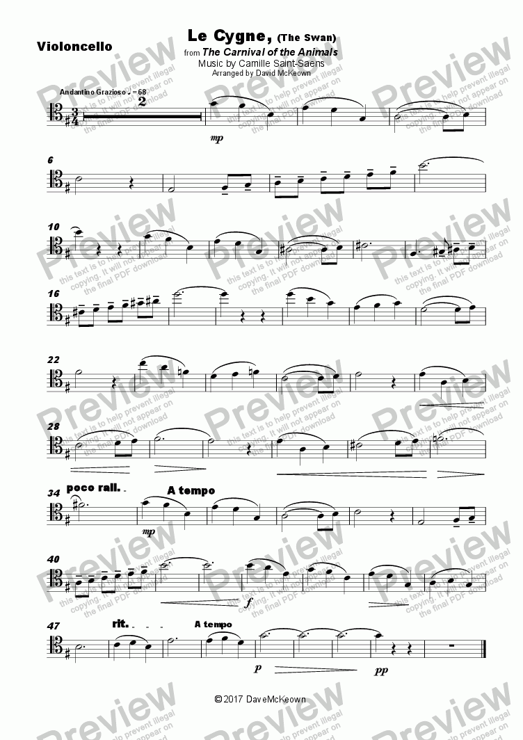 The Swan, (Le Cygne), by Saint-Saens, for Cello and Piano for Solo Solo  Violoncello + piano by Camille Saint-Saens - Sheet Music PDF file to  download