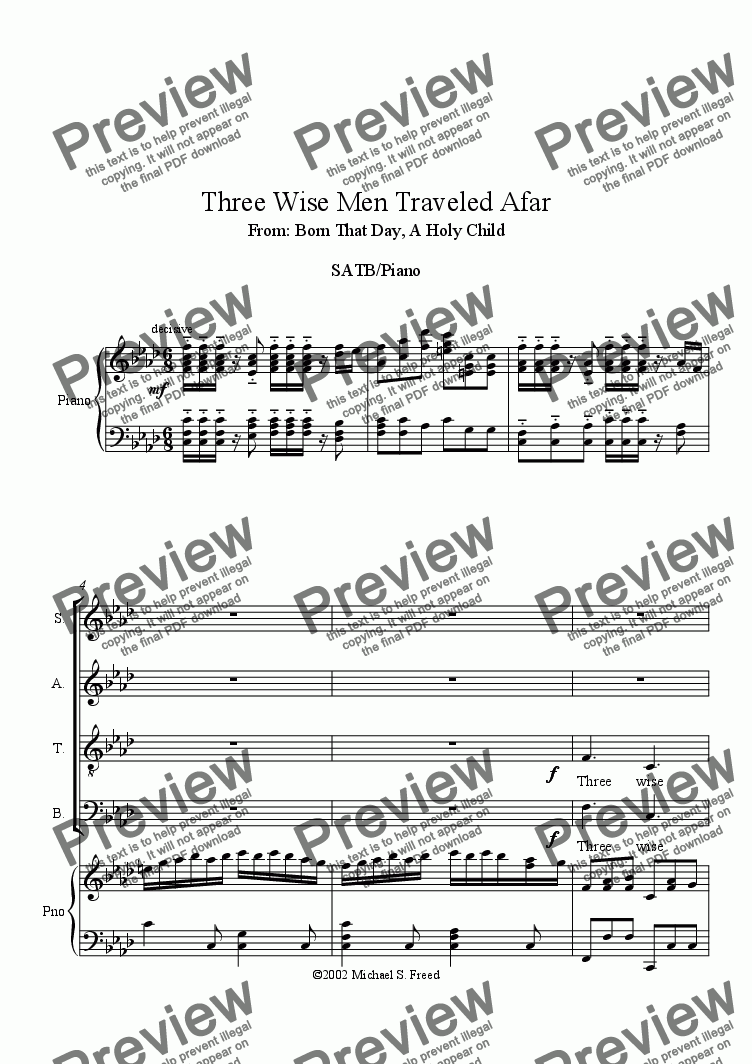 page one of Three Wise Men Traveled Afar   SATB Piano