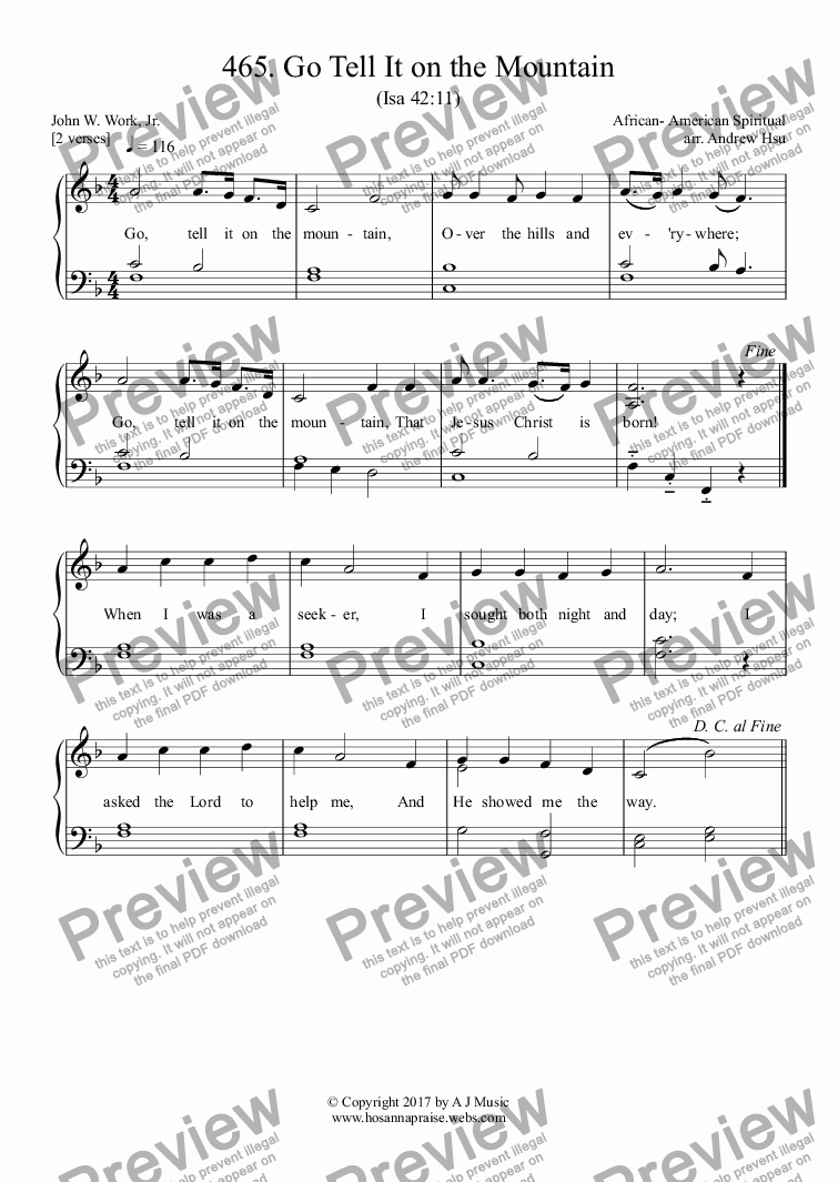 page one of Go Tell It on the Mountain - Easy Piano 465