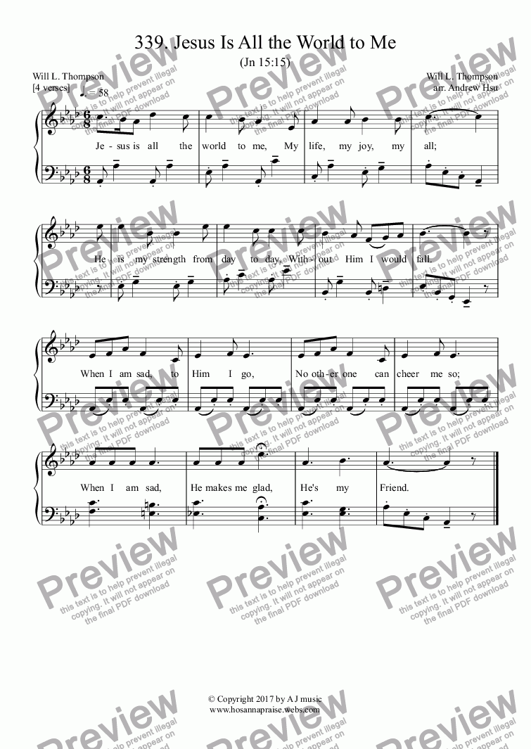 page one of Jesus Is All the World to Me - Easy Piano 339
