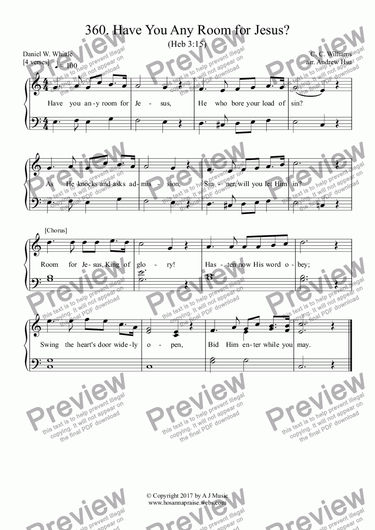 page one of Have You Any Room for Jesus? - Easy Piano 360