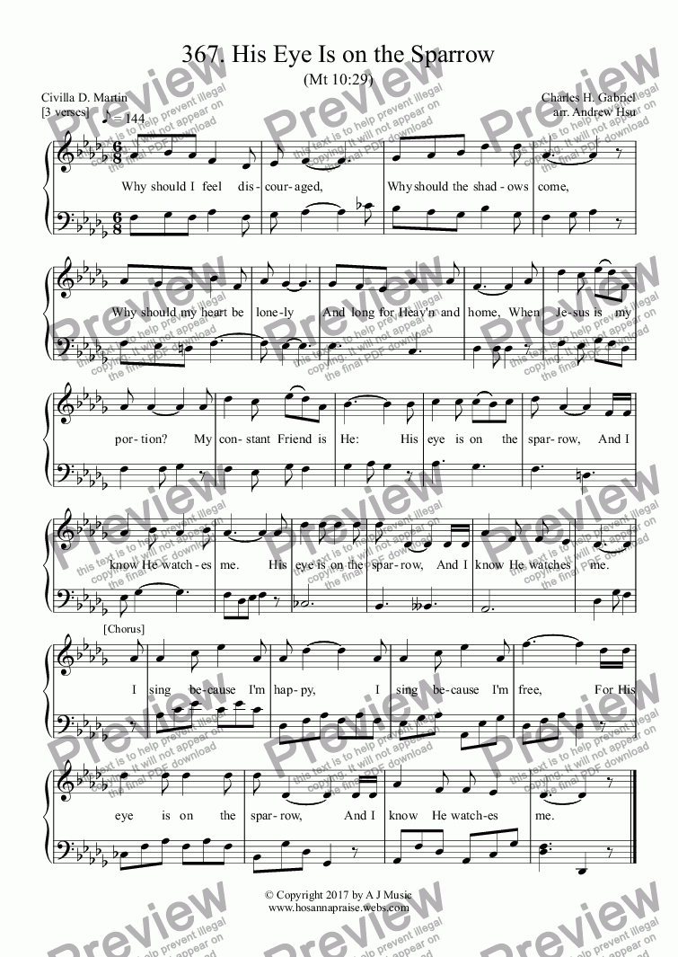 page one of His Eye Is on the Sparrow - Easy Piano 367