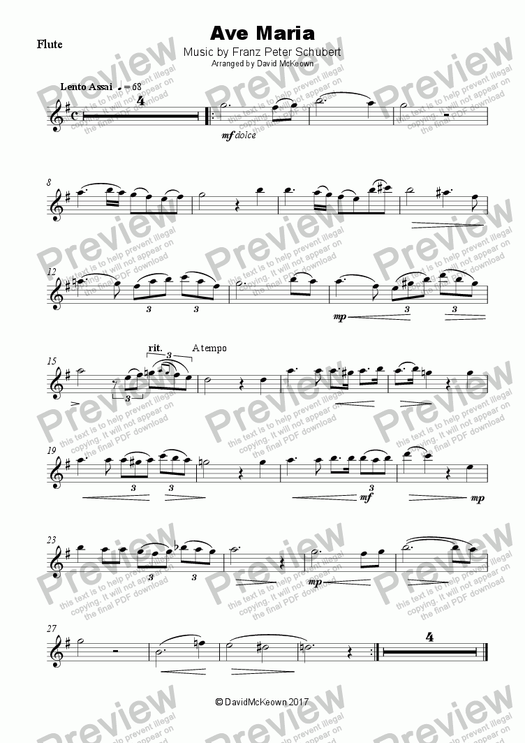 page one of Ave Maria by Franz Schubert, for Flute and Piano
