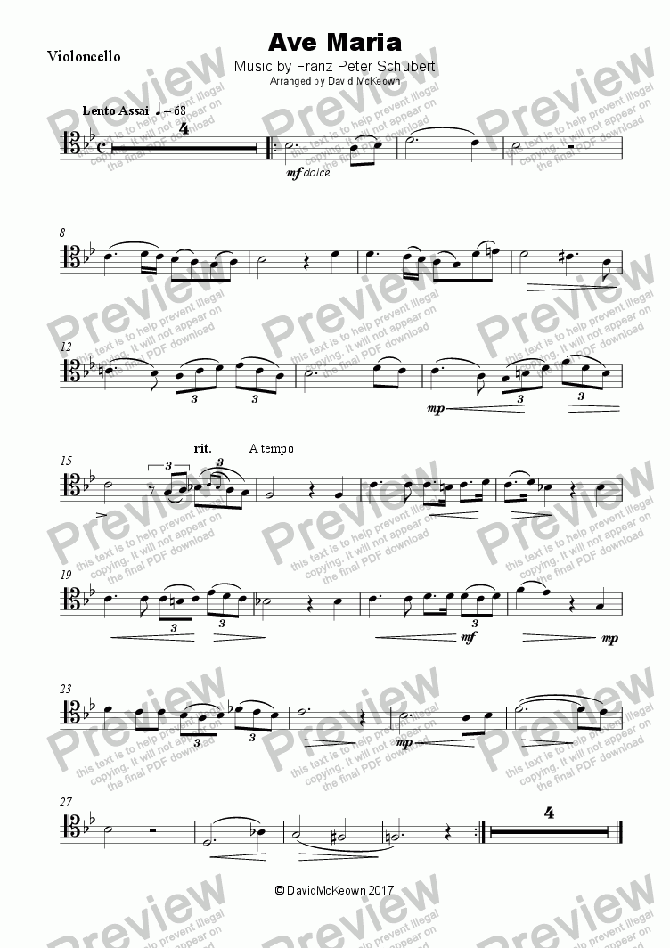 Ave Maria by Franz Schubert, for Cello and Piano for Solo Solo Violoncello  + piano by Franz Schubert - Sheet Music PDF file to download
