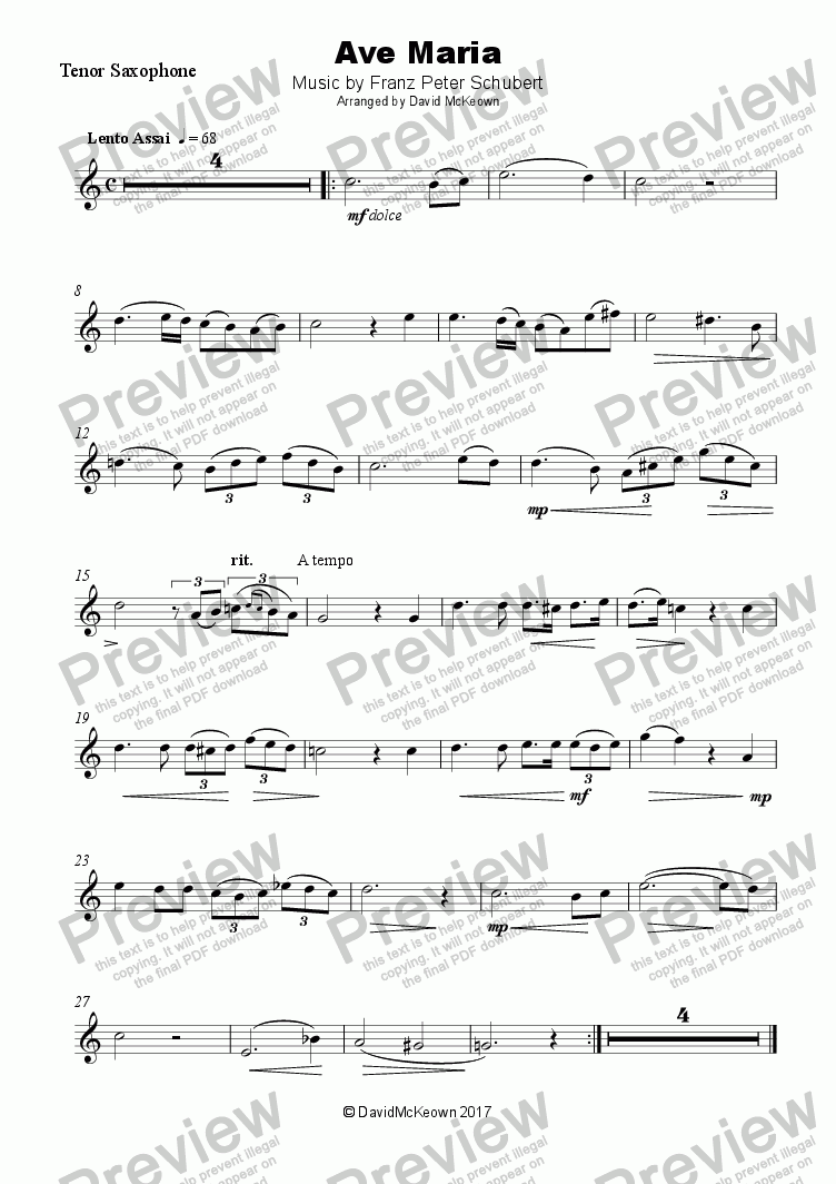 page one of Ave Maria by Franz Schubert, for Tenor Saxophone and Piano