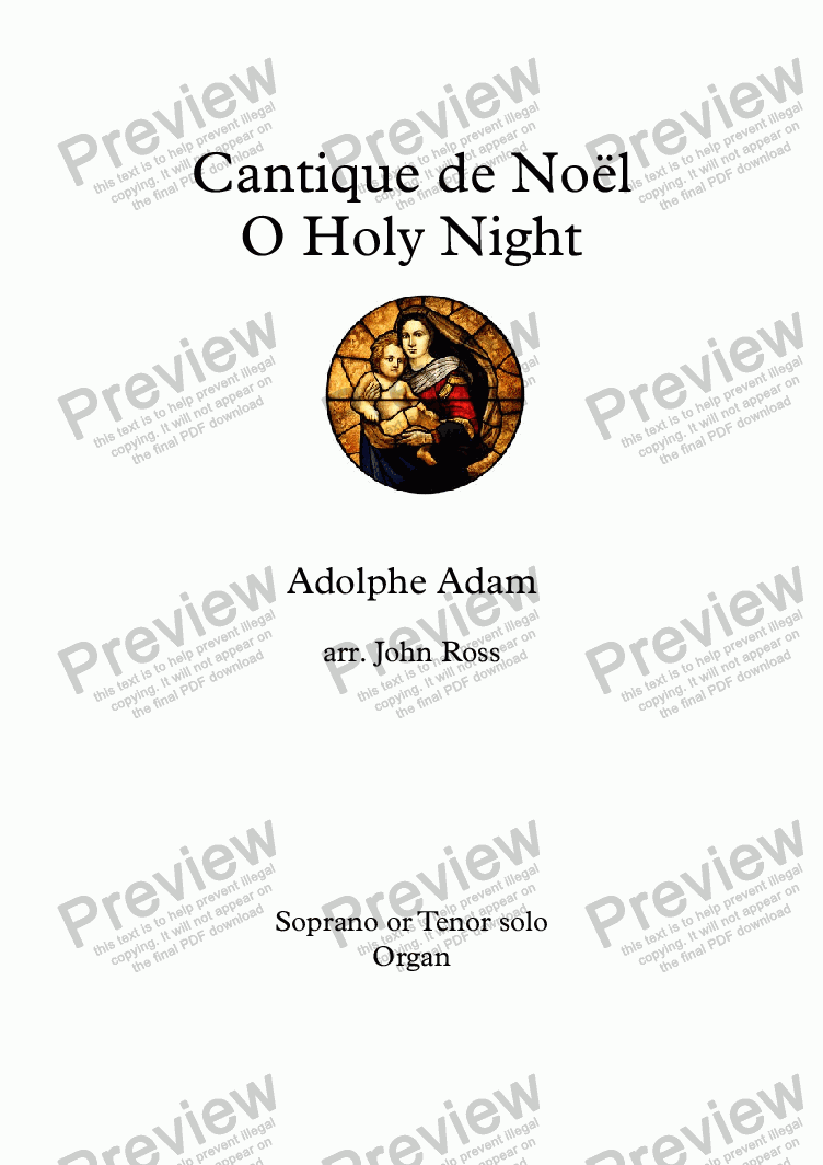 page one of Cantique de Noël - O Holy Night (Soprano or Tenor solo, SSA, Organ)