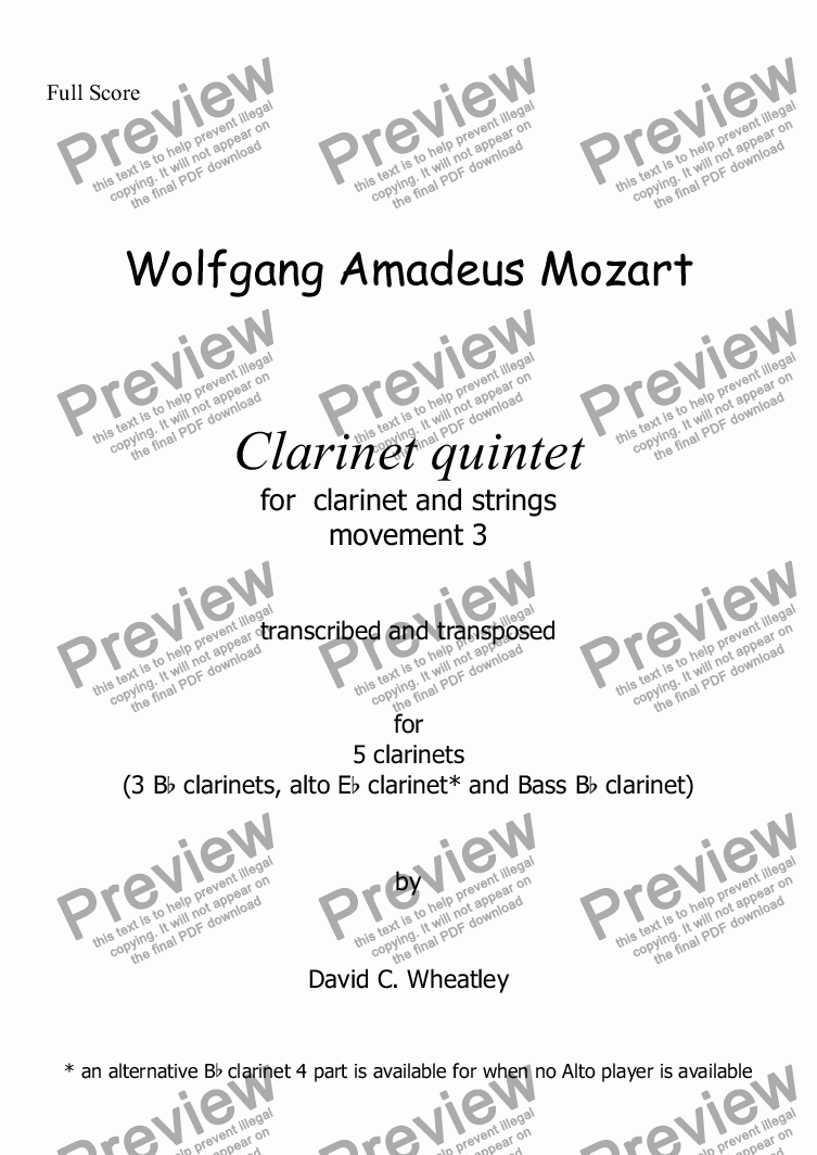 page one of Mozart - Clarinet quintet 3rd mvt for 5 clarinets transcribed by David Wheatley