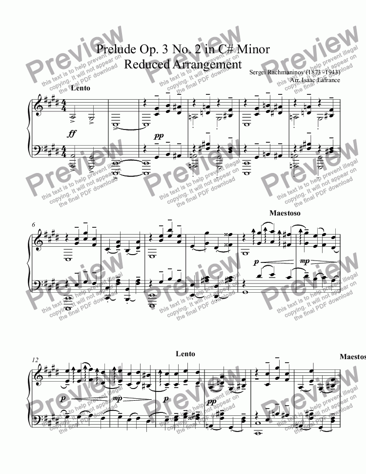 page one of Prelude Op. 3 No. 2 in C# Minor Reduced Arrangement