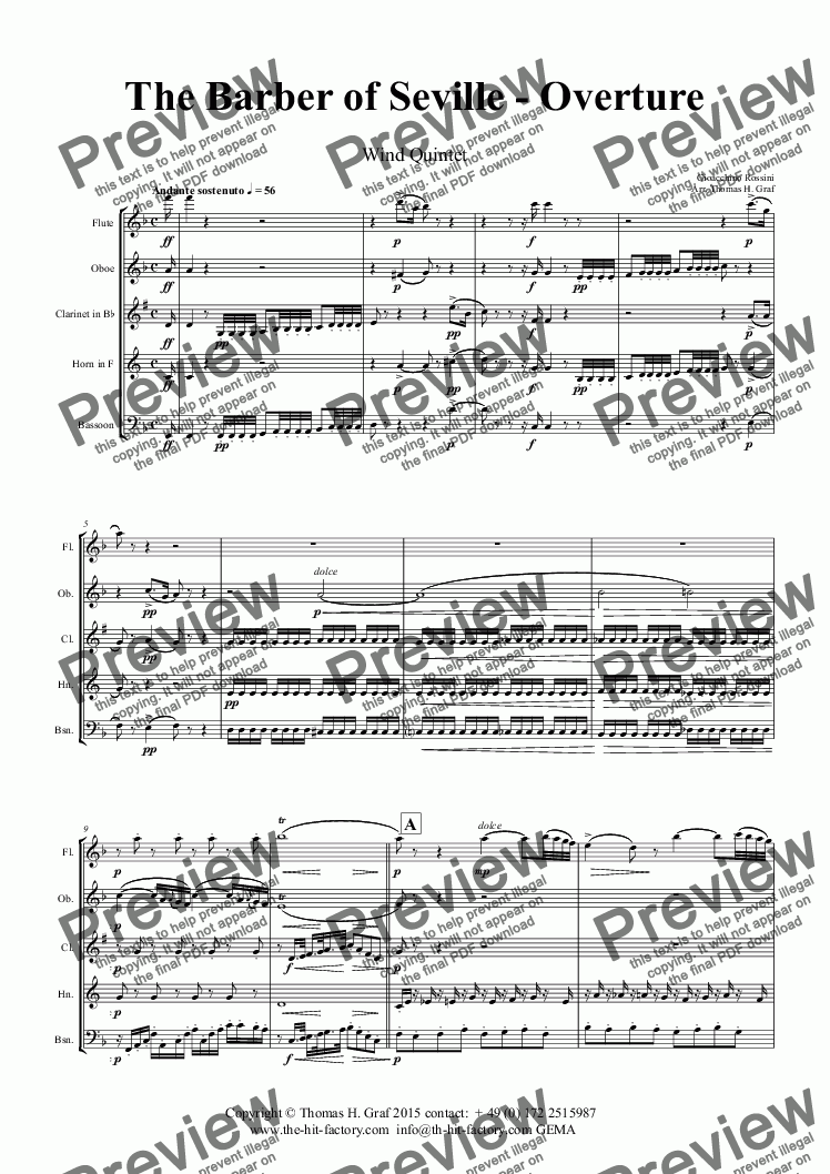 page one of The Barber of Seville - Overture - Wind Quintet