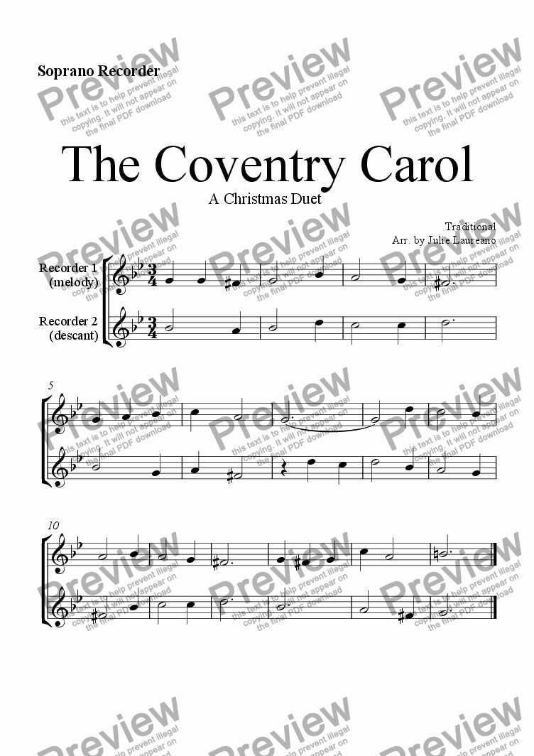 page one of The Coventry Carol