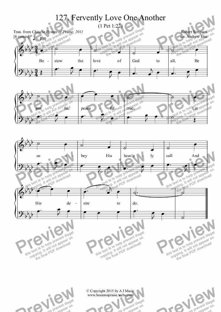 page one of Fervently Love One Another - Easy Piano 127
