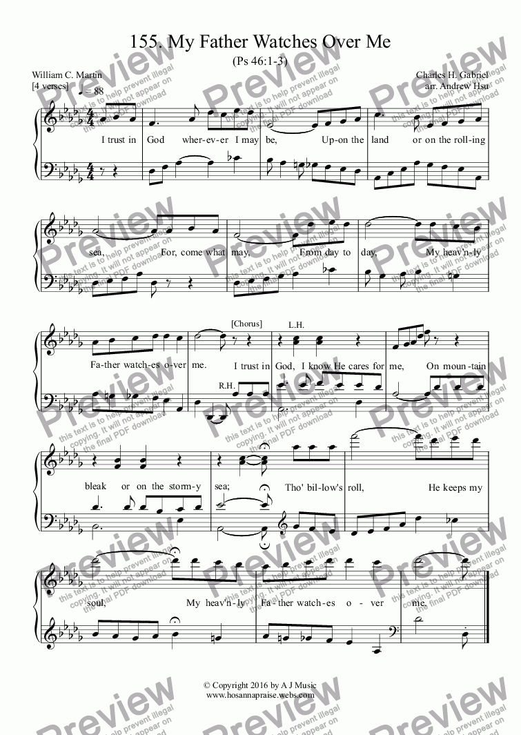 page one of My Father Watches Over Me - Easy Piano 155