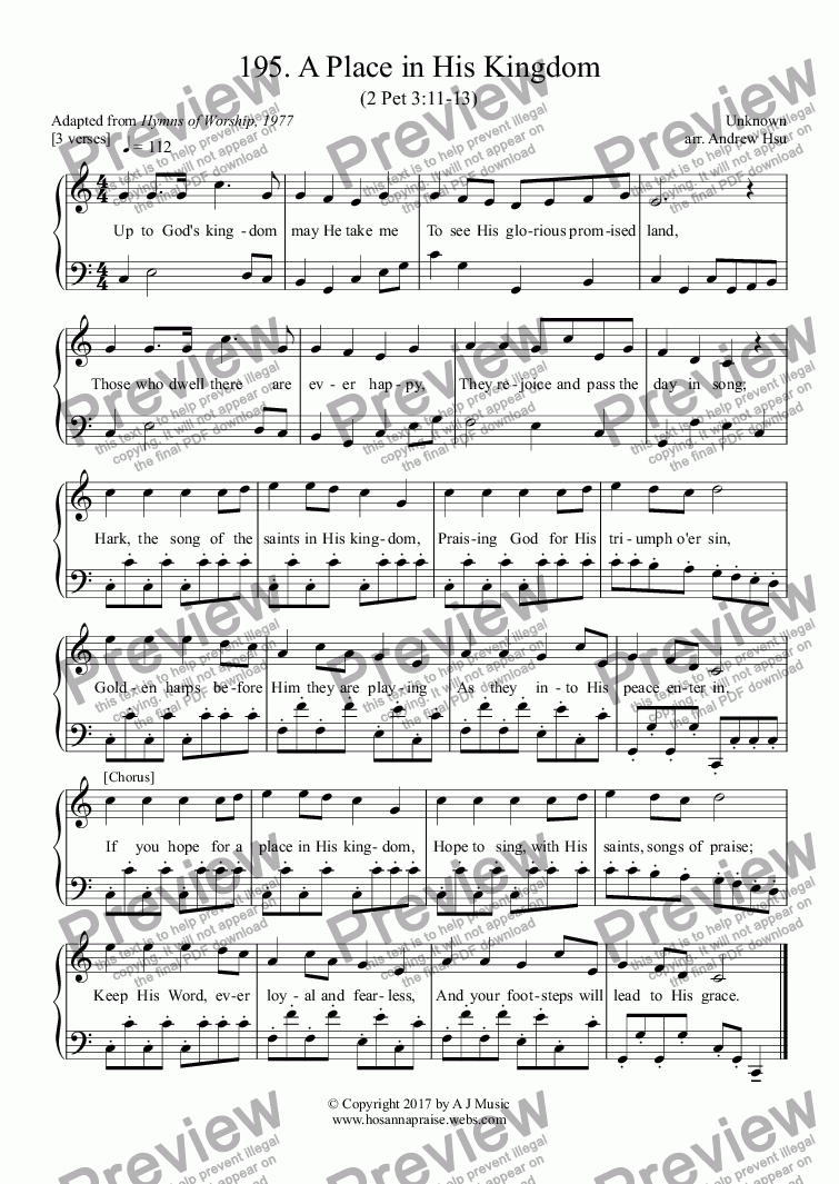 page one of A Place in His Kingdom - Easy Piano 195
