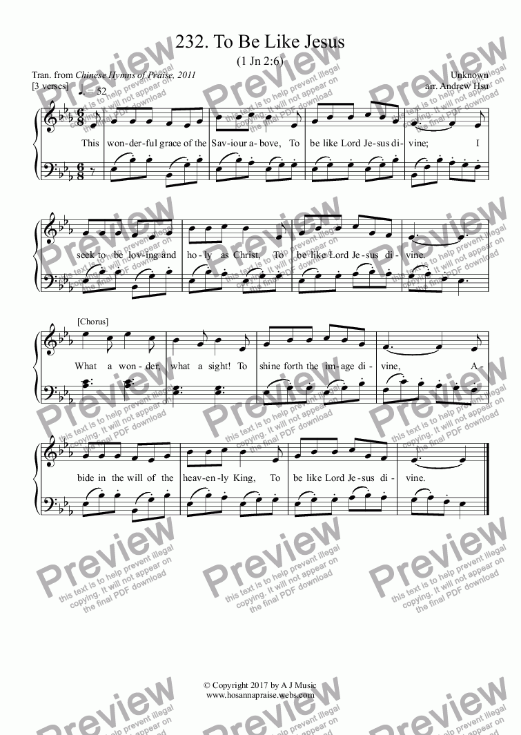 page one of To Be Like Jesus - Easy Piano 232