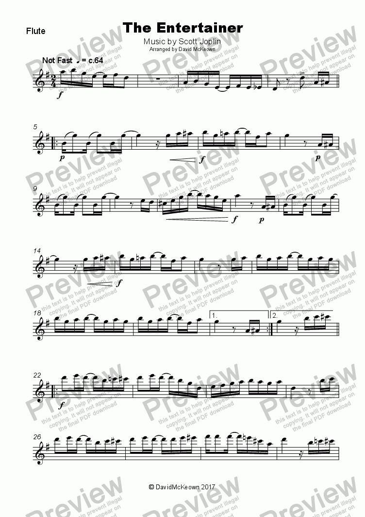 the entertainer piano sheet