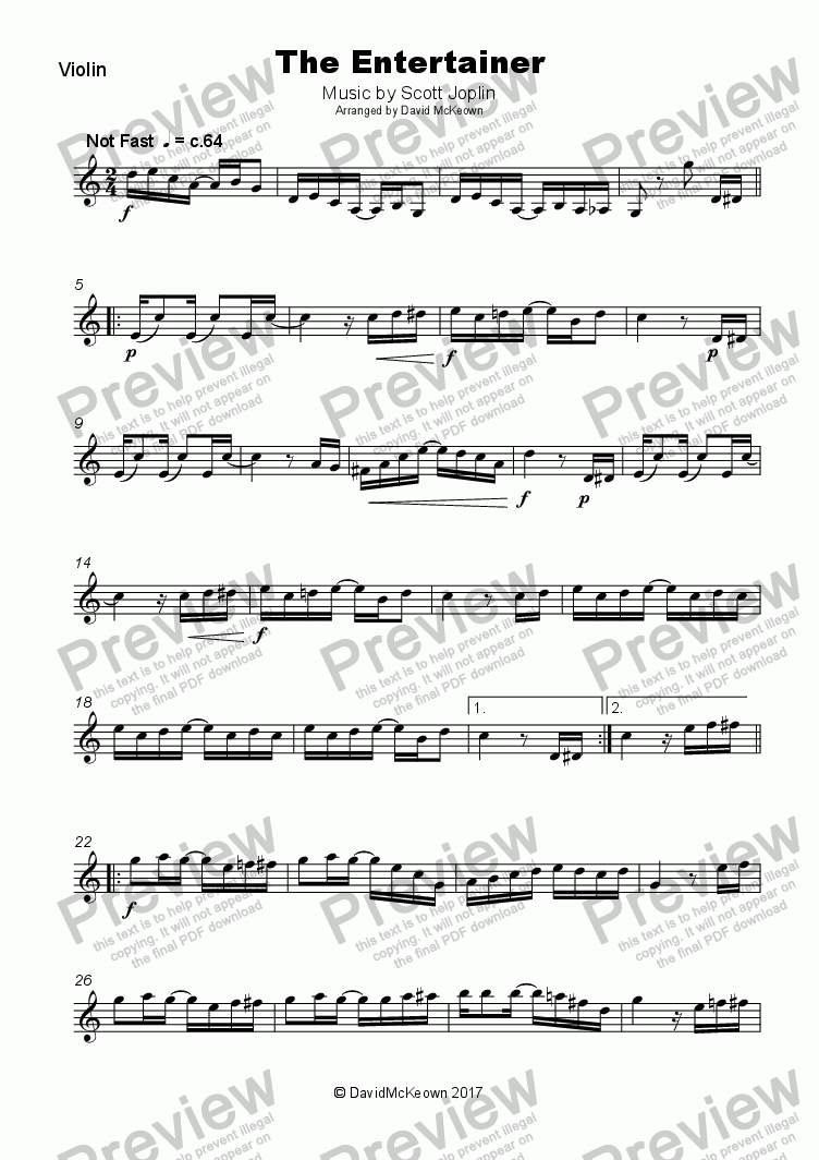 page one of The Entertainer by Scott Joplin, for Violin and Piano