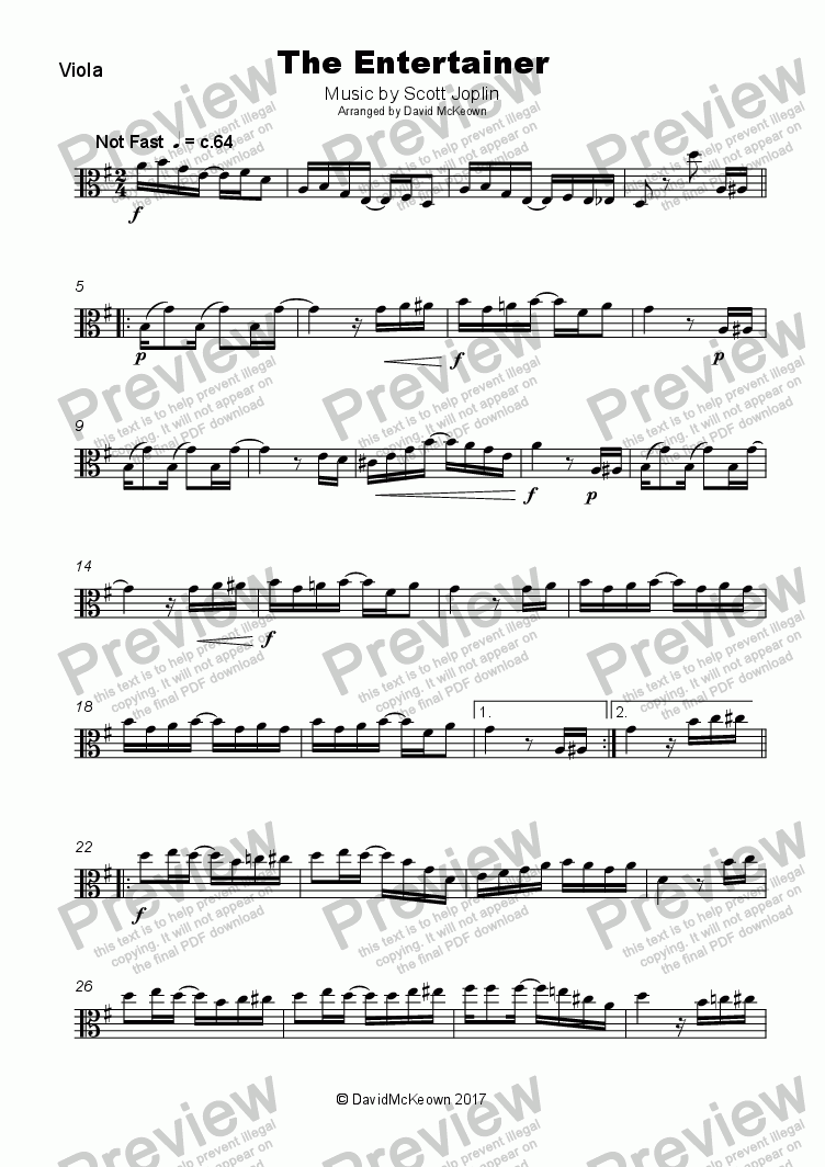 page one of The Entertainer by Scott Joplin, for Viola and Piano
