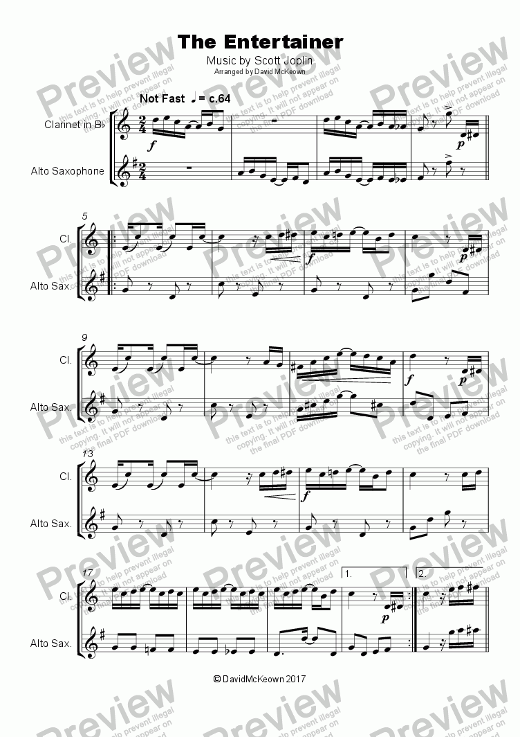 page one of The Entertainer by Scott Joplin, Duet for Clarinet and Alto Saxophone