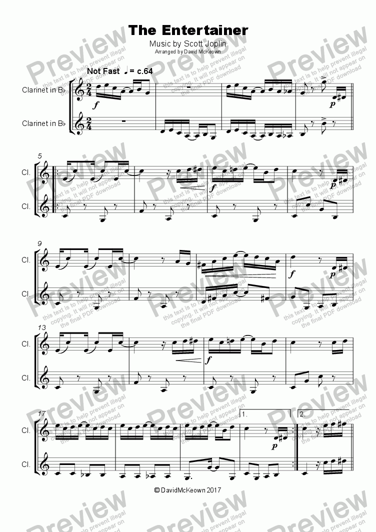 page one of The Entertainer by Scott Joplin, Duet for Clarinet
