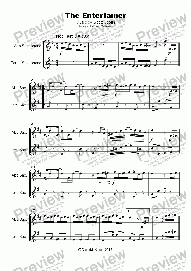 page one of The Entertainer by Scott Joplin, Duet for Alto and Tenor Saxophone