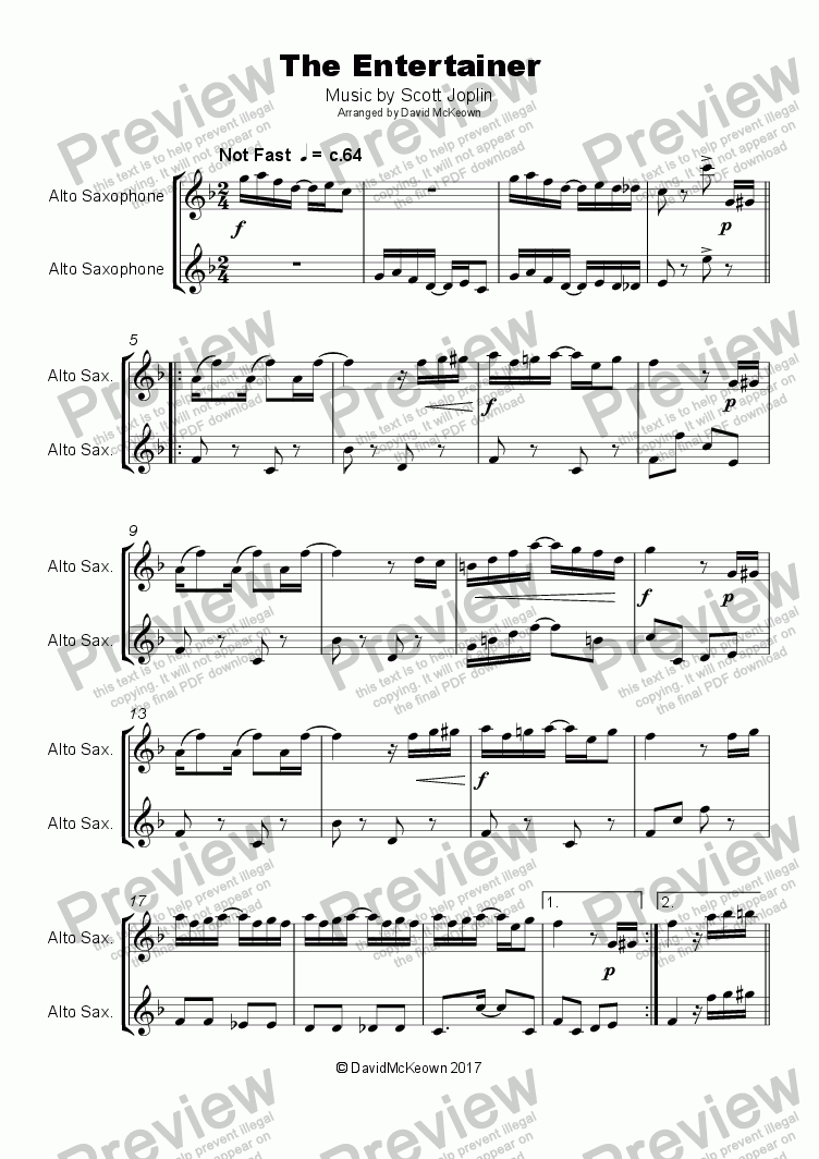 page one of The Entertainer by Scott Joplin, Duet for Alto Saxophone