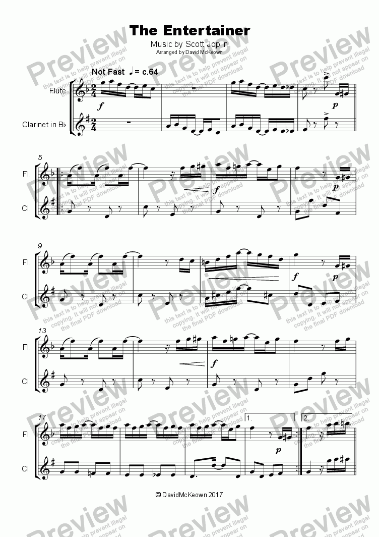 page one of The Entertainer by Scott Joplin, Duet for Flute and Clarinet