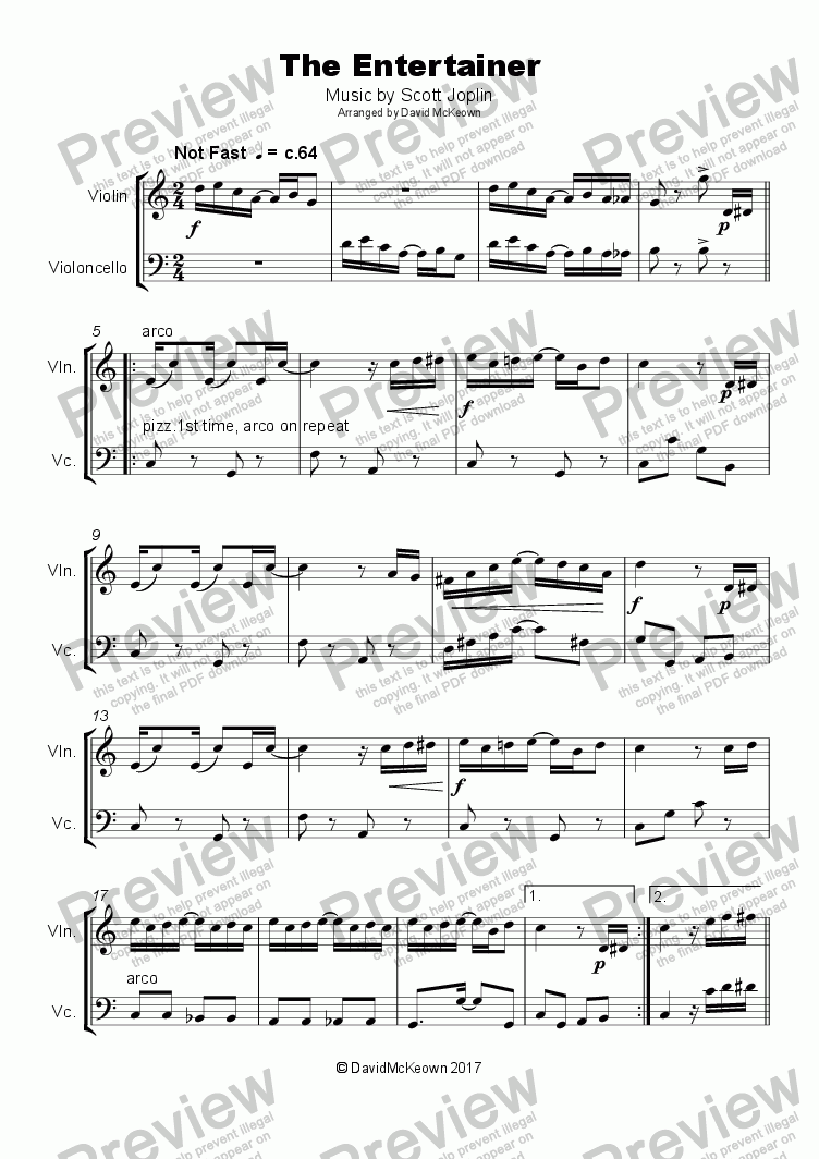 page one of The Entertainer by Scott Joplin, Duet for Violin and CelloASALTTEXT