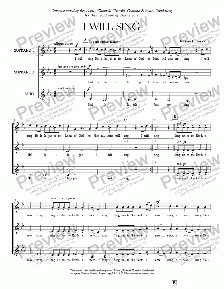 page one of Edwards II - I Will Sing Halelujah