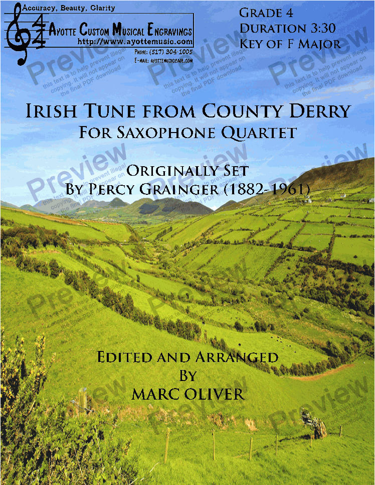 page one of Grainger - Irish Tune From County Derry (Sax)