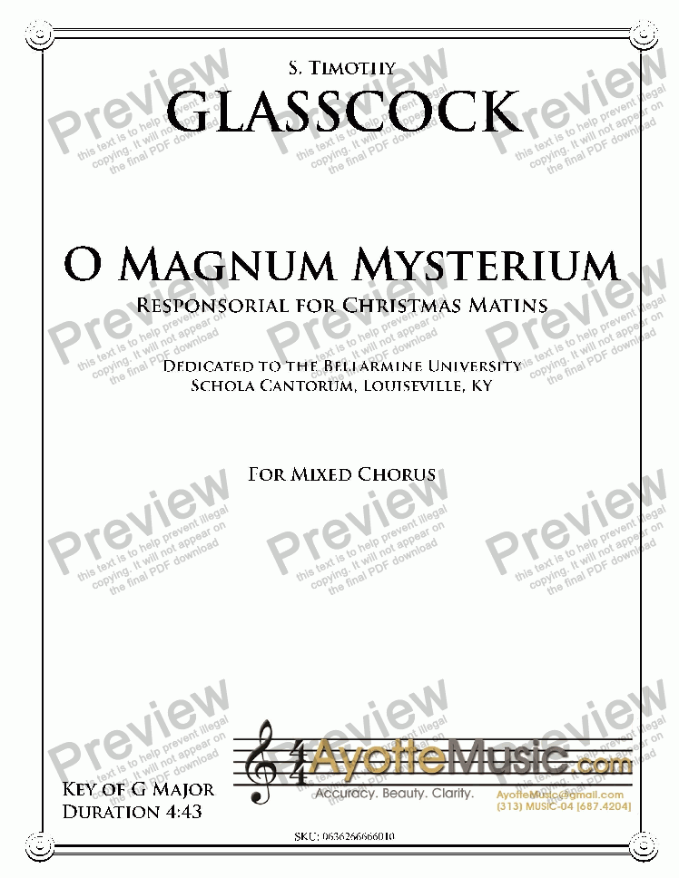 page one of Glasscock - O Magnum Mysterium