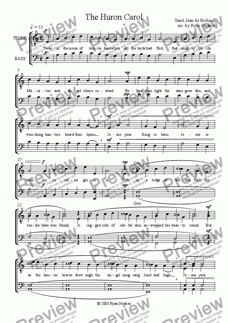 page one of The Huron Carol