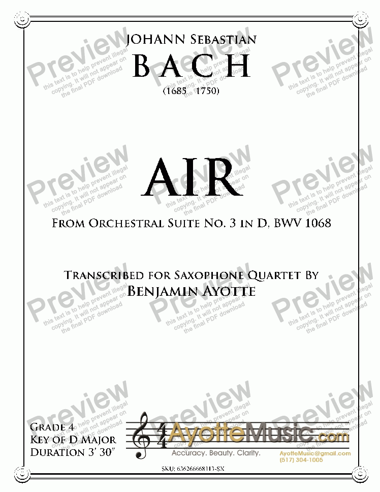 page one of Bach - Air from Orchestral Suite No. 3 in D for Saxophone Quartet