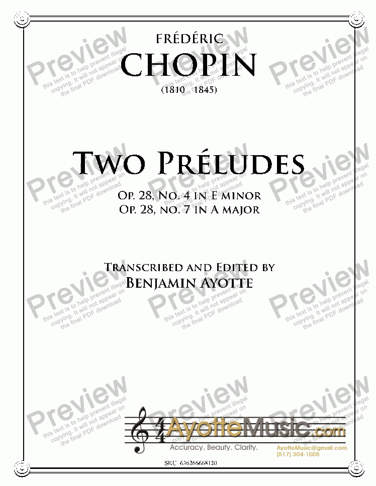 page one of Chopin - Two Preludes (E minor and A major)