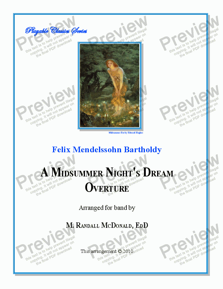 page one of Mendelssohn - Midsummer Nights Dream Overture