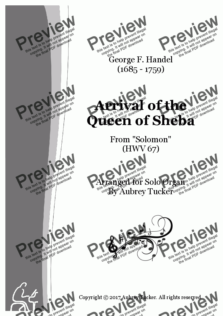 page one of Organ: Entry / Arrival of the Queen of Sheba (from Solomon HWV 67) - George F. Handel