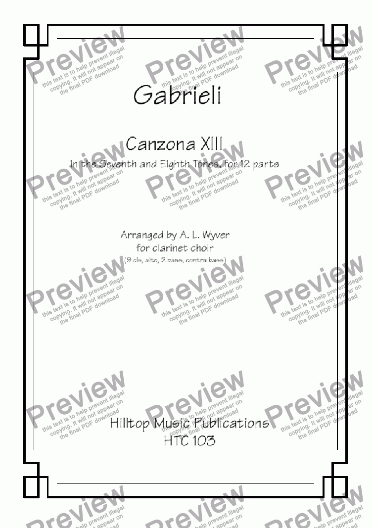 page one of Canzona XIII arr. clarinet choir