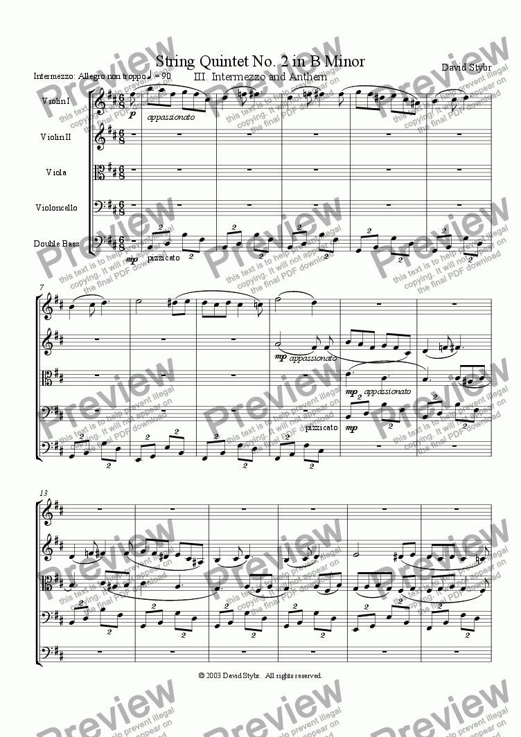 page one of String Quintet No. 2 in B Minor: III. Intermezzo and AnthemASALTTEXT