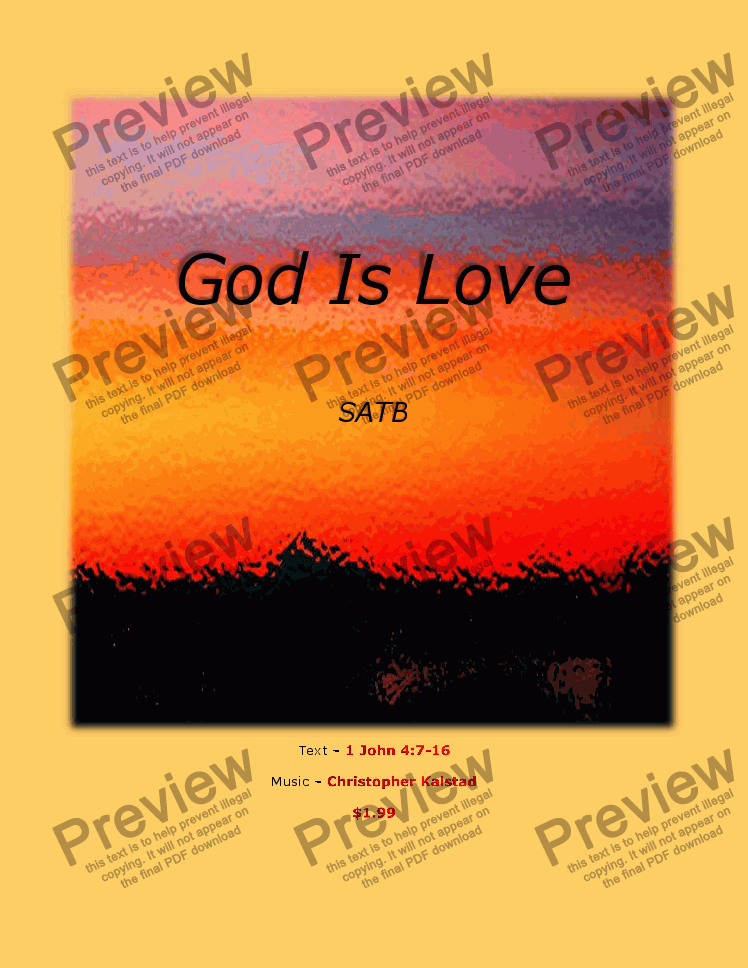page one of God Is Love (SATB)